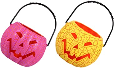 FRCOLOR 2pcs Halloween Pumpkin Jack O Lantern Candy Bucket Portable LED Pumpkin Lantern Party Accessory