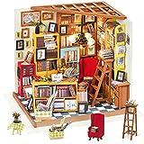 Rolife Dollhouse DIY Miniature Room Set-Woodcraft Construction Kit-Wooden Model Building Set-Mini Library Play Set-Christmas Birthday Gifts for Boys Girls Women Friends (Sam's Study)