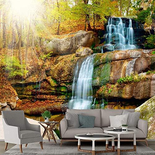 Flyyl foto Carta da parati 3d cascata nella foresta profonda 3D wallpaper per soggiorno murale Decorazione della casa