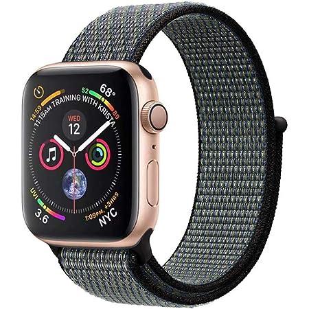 METEQI バンド 対応 Apple Watch,しいナイロン スポーツループバンド ストラップ 交換バンド for Apple Watch Series 6/5/4/3/2/1/SE (38mm/40mm, インディゴ/シャイニーグリーン)