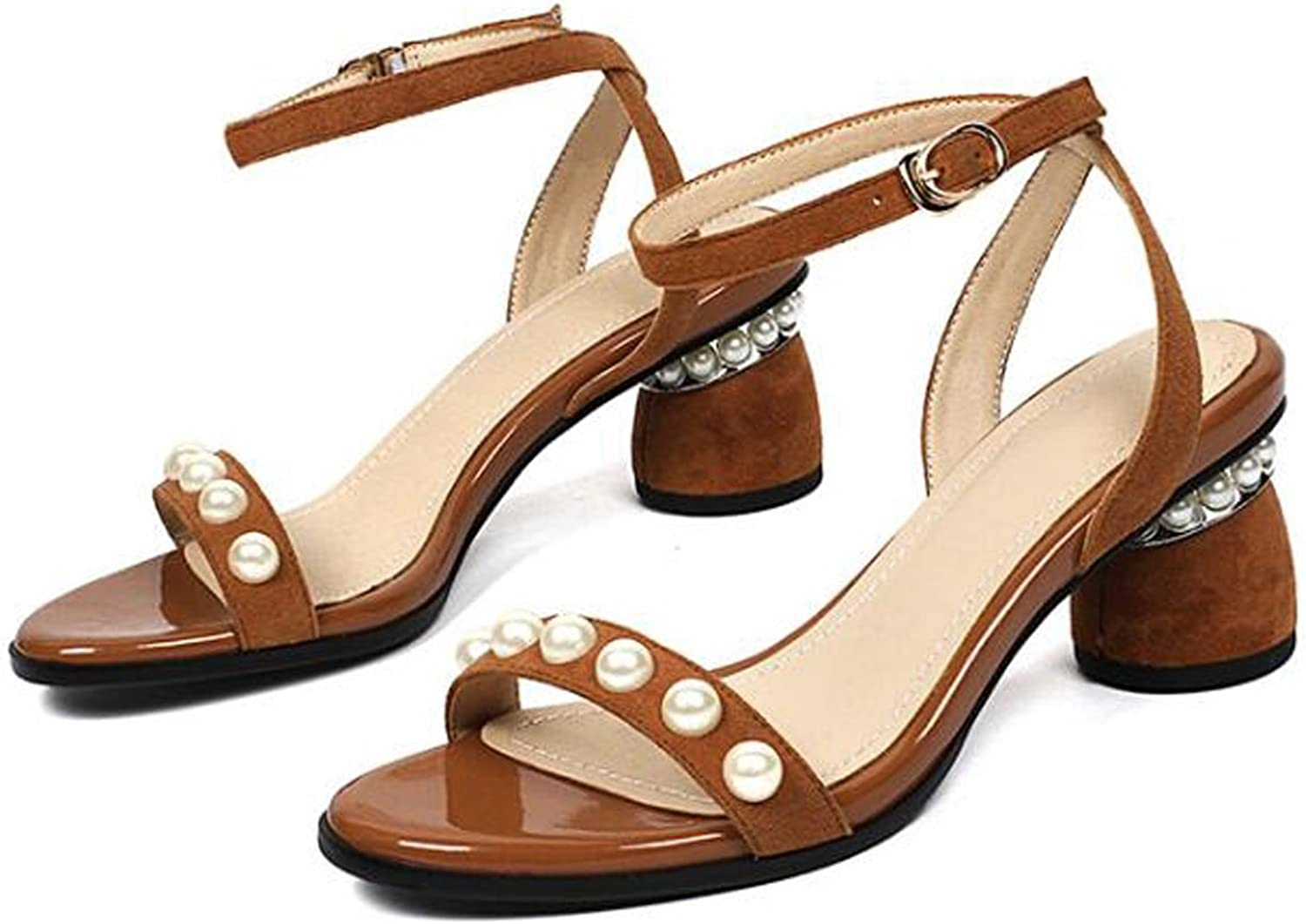 Women's Sandals Peep-Toe Sandals Pearl Decoration shoes Women's Elegant Ankle Strap Cross-Tie Straps Thick Heel Thick with Sandals