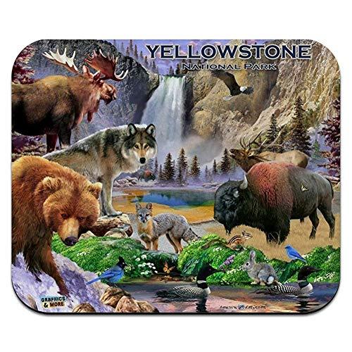 N\A Parc National de Yellowstone Wyoming Montana Idaho Animaux Loup Ours Renard Bison Tapis de Souris Mince Tapis de Souris Mousepad