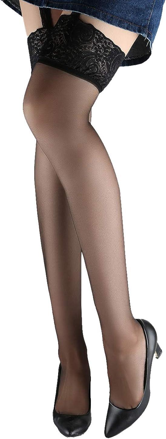 uxcell Women Garter Belt Lace Top Thigh High Fishnet Stockings