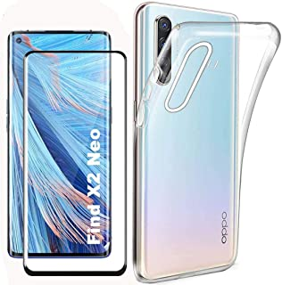 Boleyi For Oppo Find X2 neoCase With Screen Protector,[2 in 1] TPU Silicone Case + [1 PACK] 9H Tempered Glass Screen Pro...