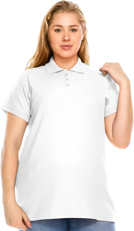 JC DISTRO Women's Plus Size Short Sleeve Pique Polo Shirts