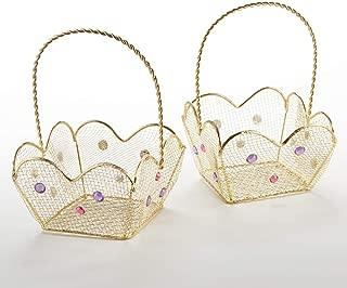 Kate Aspen 14136NA Indian Jewel Gold Wire (Set of 6) Favor Basket