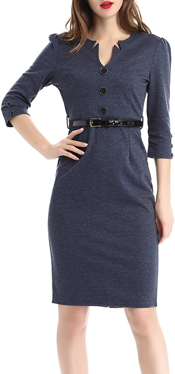 AnKoee Ladies Slim Business Bodycon Casual Dress Pencil Cocktail Dresses