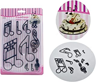 Music Notes Extra Large Mold By Garloy,10 Pcs Plastic Print Die Ideal for Pastry Cookie Dough Sugarpaste Rolled Fondant Petal Paste Ggum Paste Marzipan or Craft Clays