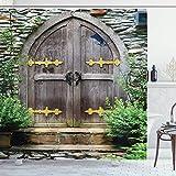 Rustikaler Duschvorhang,einzigartiges Schloss Traditionelles mittelalterliches Erbe Feen-Eingang im Alter von Eingangsbereich,Stoff Stoff Badezimmer mit Braungrün mit 12 Kunststoffhaken 180x180cm