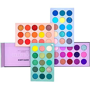 Beauty Glazed 60 Color Eyeshadow Palette, 4 in 1 Board High Pigmented Glitter Matte Eye Shadow Rotation Pearlescent Nude Eyes Cosmetic Makeup Palette (Color Board)