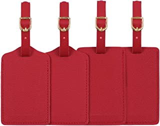 Luggage Tags,Personalized Business Card Holder Travel ID Sets With Privacy Cover For Travel Bag Tags- 4 pack(Red)
