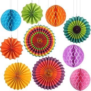 KINDPMA 10Pcs Abanicos de Papel Coloridos Pompones de Papel Ventilador de Papel Bola de Nido para Decoracion para Cumpleaños Boda Fiestas