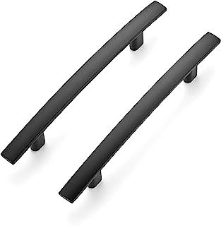 "Ravinte 5 Pack | 6'' Curved Cabinet Pulls Matte Black Stainless Steel Kitchen Drawer Pulls Cabinet Handles 6""Length, 3.75""..."