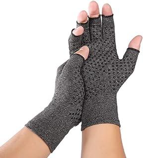 Risareyi 毎日の仕事のためのテクスチャを開き指ハンドグローブ - 2ペアアンチ関節炎圧縮グローブ - 指なし手袋リハビリテーション (Size : L)