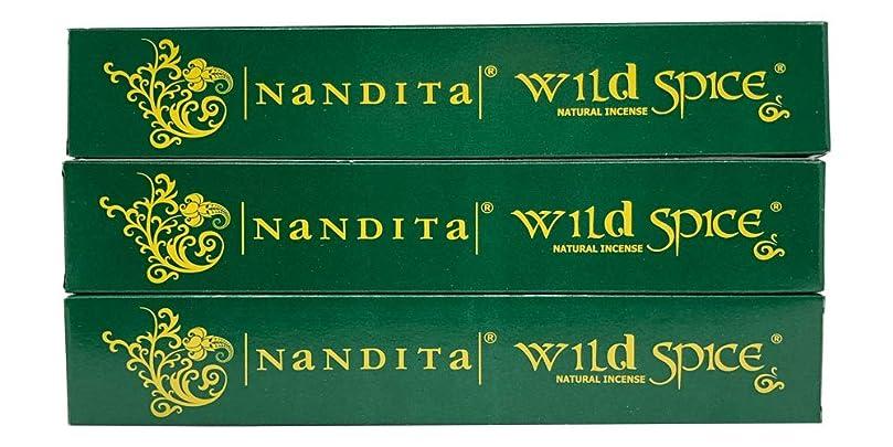カップ鋸歯状不健康Nandita Wild Spice プレミアムナチュラルマサラ香スティック 3本パック (各15グラム)
