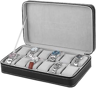 DKE&HXL Caja De Reloj, Caja De Presentación De Almacenamiento De Caja De Cremallera De Reloj De 12 Rejillas, Caja De Joyer...
