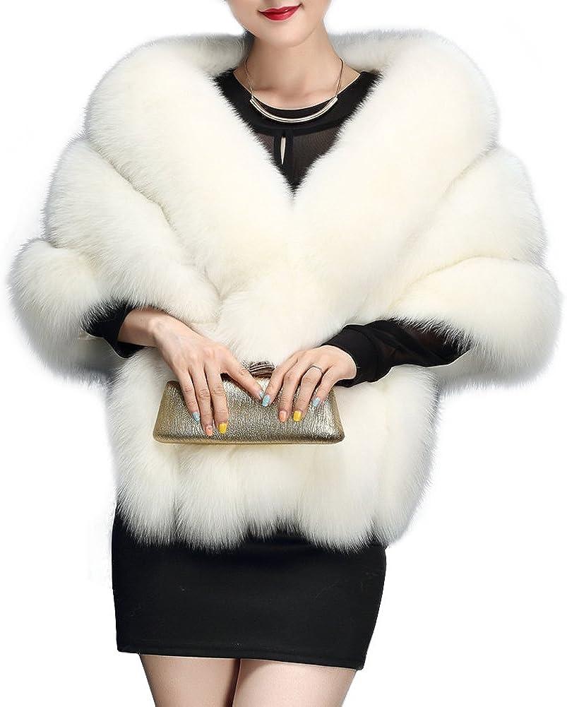 Amore Bridal Women's Luxury Party Faux Fox Fur Long Shawl Cloak Cape for Winter
