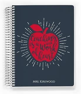 Custom Cover Teacher Planner, Academic Planner for 2020, Work of Heart, 8.5 x 11 inch, by PurpleTrail
