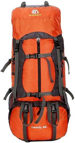 Grtodnz 60L Grande capacité légère Randonnée Sac à Dos, résistant à l'eau Multi-Fonctionnelle Décontracté Camping Trekking sac à dos pour vélo Voyage Escalade Mountaineer Sports de Plein air,Orange