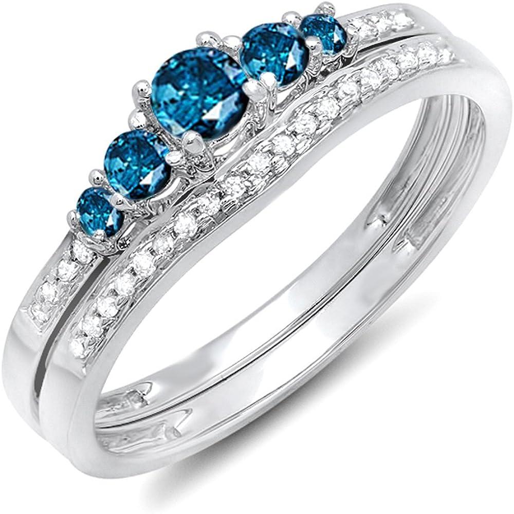 Dazzlingrock Collection 0.45 Carat (ctw) 14k Round Blue & White Diamond 5 Stone Bridal Engagement Ring Set 1/2 CT, White Gold