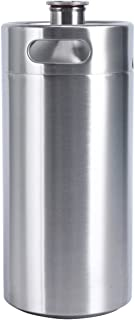 YaeBrew 128 OZ Mini Keg Growler Canteen Craft Beer Homebrewing Home Brew Stainless Steel Beer Barrel Holds Beer Silver (128oz Growler)