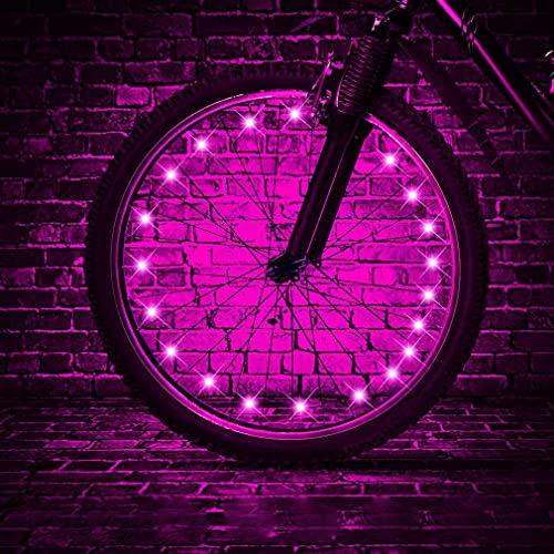 HUGEE Lumières de Roue de Vélo - Décoration de Rayons de Roue de Vélo,Éclairage Lumières de Chaîne de Roue de Vélo imperméables,Visibles de Tous Les Angles,Appliquez sur Rouler la Nuit (Rose)
