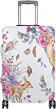 Baggage Covers Hand Painted Sika Deer Rose Flower Washable Protective Case