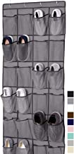 Gorilla Grip Large 24 Pocket Shoe Organizer, Breathable Mesh, Holds Up to 40 Pounds, Sturdy Hooks, Space Saving, Over Door, Storage Rack Hangs on Closets for Shoes, Sneakers or Home Accessories, Gray
