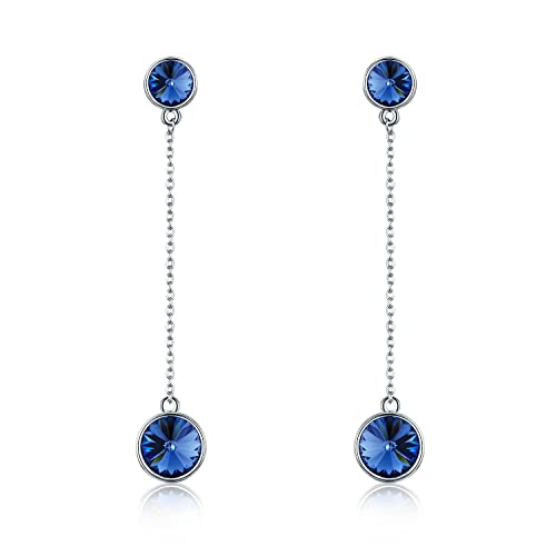 64b3a9ae3 SBLING Platinum-Plated Drop Earrings Made with Swarovski Crystals (4.25  cttw)