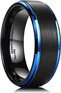 King Will Duo 8mm Black Brushed Finish Tungsten Carbide Ring Blue Plated Wedding Band