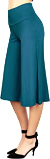 Made By Johnny Women's High Elastic Waistband Wide Leg Palazzo Culotte Gaucho Capri Pants (S~5XL)