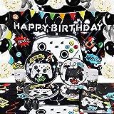 Productos para Fiestas de Cumpleaños de Videojuegos - Decoraciónde Fiesta de Videojuegos para Niños Telón de Fondo GlobosPlatos Tazas Servilletas Mantel Juego de Vajilla para 16 Invitados 88 Piezas