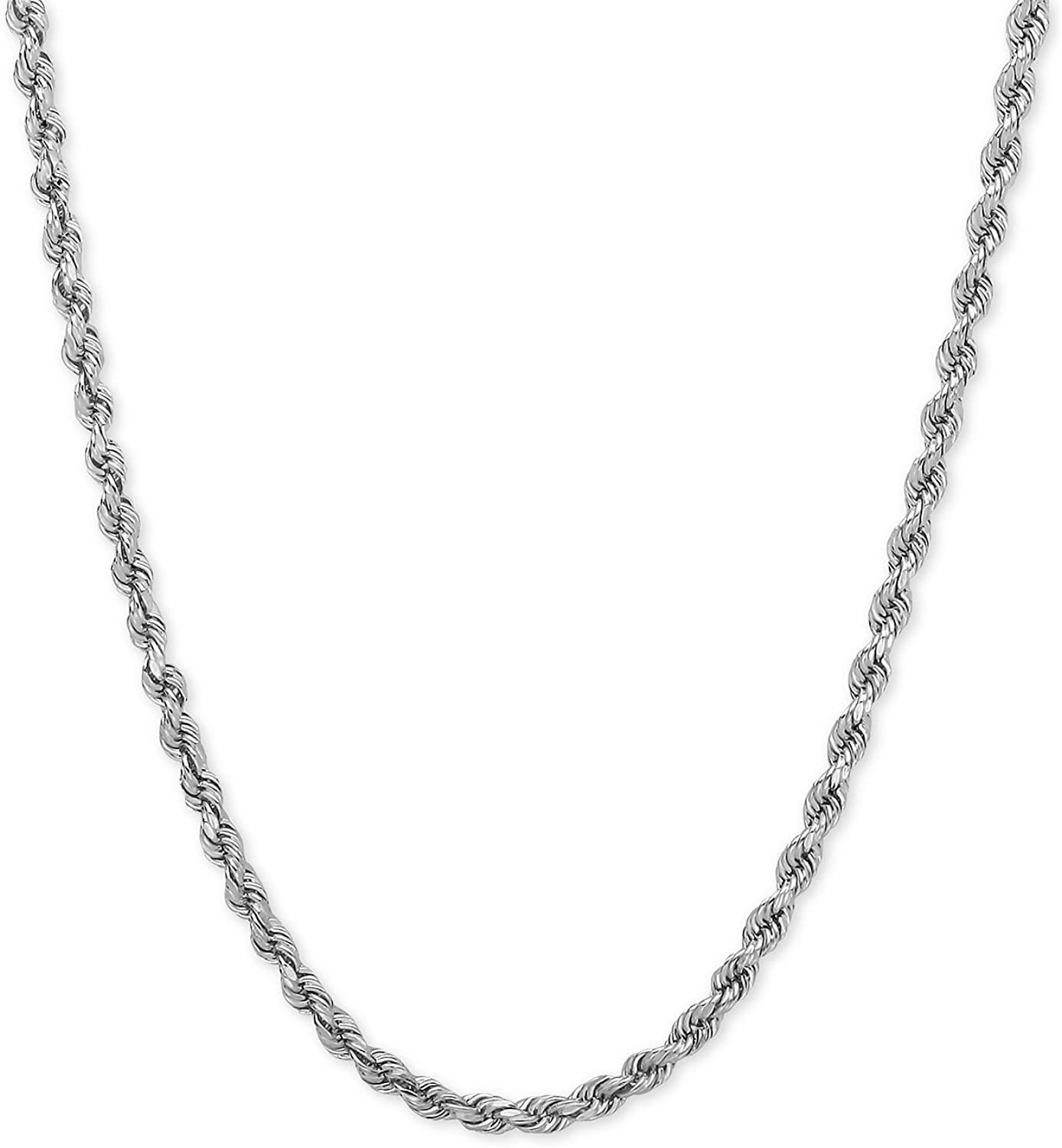 14k REAL White Gold 1.50mm,2mm Or 2.5mm Thick Shiny Hollow Rope Chain Necklace for Pendants and Charms with Lobster-Claw Clasp (16