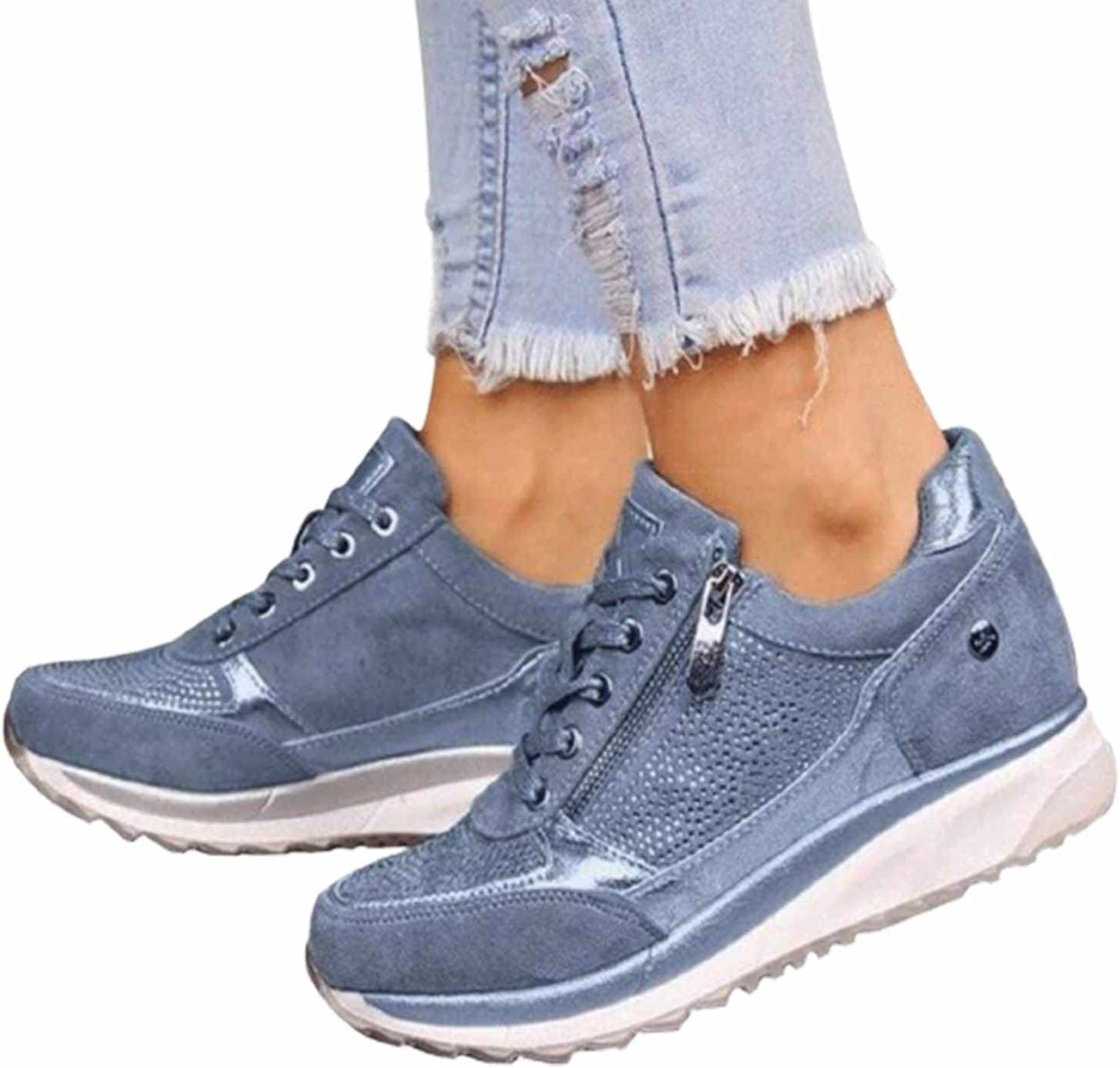 BBOOY Zapatillas de Deporte de cuña Ocultas para Mujer, Zapatillas Deporte Plataforma Cordones Superiores Diamantes imitación Moda, Cremalleras Doble Cara, Mocasines ortopédicos Fitness