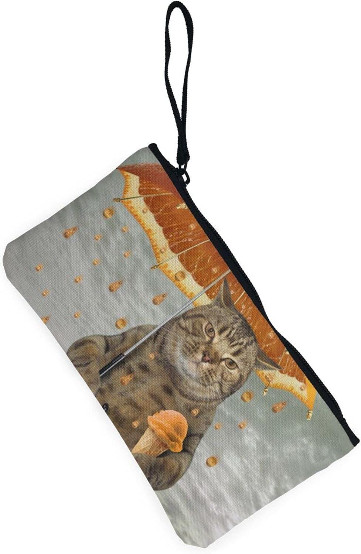 AORRUAM Cat in Oranges Rain Canvas Coin Purse,Canvas Zipper Pencil Cases,Canvas Change Purse Pouch Mini Wallet Coin Bag