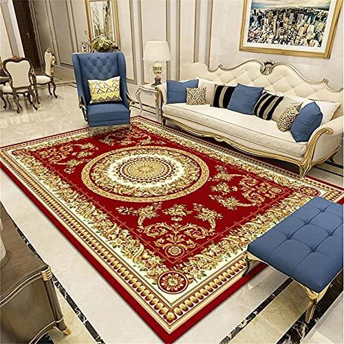 Kunsen Alfombra Salon Suelo Exterior terraza Sala de Estar Alfombra Retro rectángulo Rojo decoración del vestíbulo del Hotel Decoracion Comedor 50x80cm 1ft 7.7' X2ft 7.5'