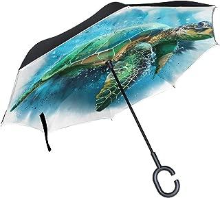 Watercolor Sea Turtle Inverted Umbrella Double Layer Reverse Umbrella Waterproof Windproof for Car Outdoor Travel