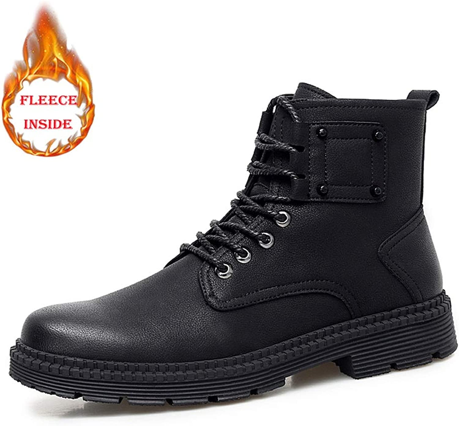 Men's Boots Casual and Comfort British Style Winter Faux Fleece Inside Warm High Top Boot