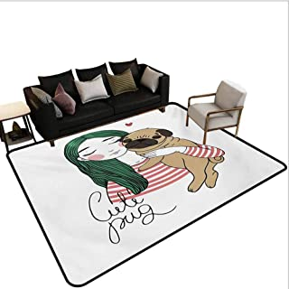 Pug Rugs for entryway Cute Dog with Lovely Girl Loving Your Pets Bonding with The Animals Carpet for Bedroom Forest Green Pale Brown Pink Area 5'x7'