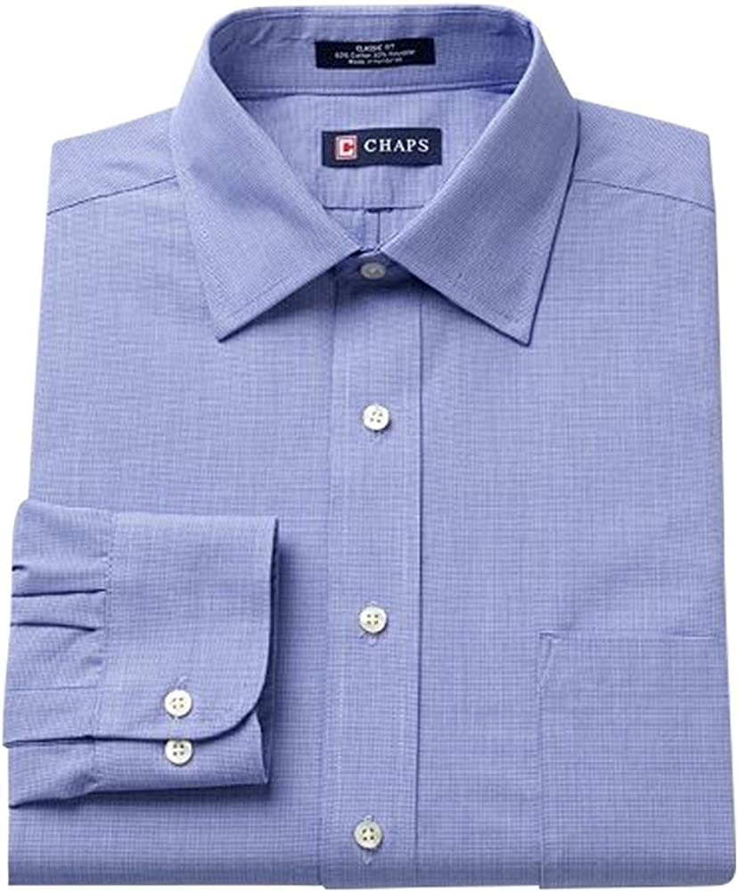 Chaps Mens Classic Fit Twill Wrinkle Free Button Collar Dress Shirt