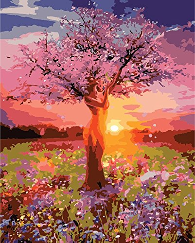 Diy Oil Painting, Paint by Numbers Kit, Drawing With Brushes Paint Suitable for All Skill Levels 40x50cm Unique Gift from FOEYESEE - Sunset Tree