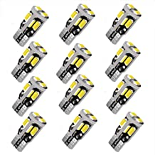 12V 12pcs T10 LED Bulb,194 LED Bulb, 168 LED Bulb, 2825 W5W LED Bulbs, Super Bright 6000K White 10SMD 5730 Chipset 250LM LED Bulb for Car Interior Dome Map Door Courtesy License Plate Lights