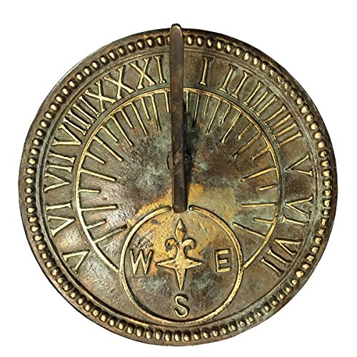 Rome Industries 2310 Roman Sundial, Solid Brass with Light Verdi Highlights, 8-Inch Diameter