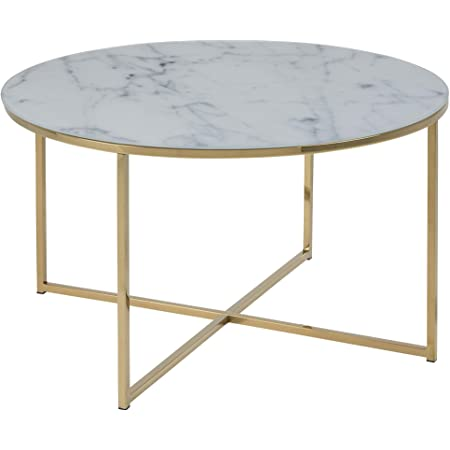 AC Design Furniture Antje Table basse, Verre, Gold, 80 x 45 cm