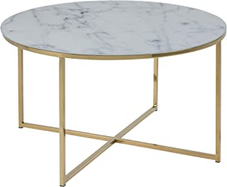 AC Design Furniture Antje Table basse, Verre, Gold, 80 x 45 cm