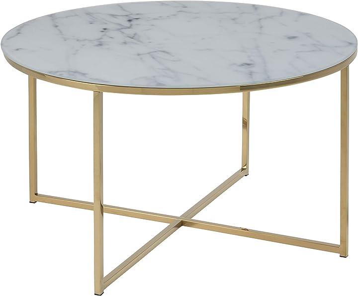 Tavolino alisma ac design furniture 57547, bianco l / w / h ca. 80/80/45 cm