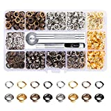 Matedepreso 1/4 Inch Grommet Kit 400 Sets Grommets Eyelets DIY Inside Diameter Grommet Setting Tool with 3 Pieces Install Tool Kit for Shoe Clothes Leather Crafts, DIY Projects