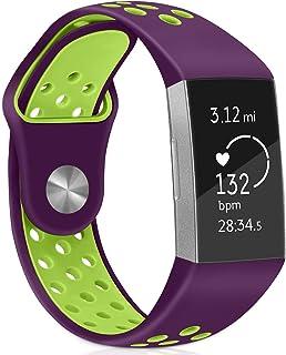 Financingpig for Fitbit Charge 4/ Fitbit Charge 3リストバンド、ソフト交換ストラップ、男性と女性に適したデュアルカラー調整可能シリコン通気性バンド (パープル+グリーン)