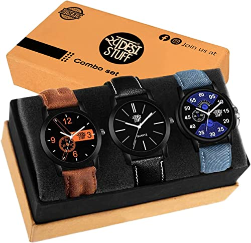 Analogue Men s Watch Pack of 3 Multicolored Dial Multicolored Colored Strap