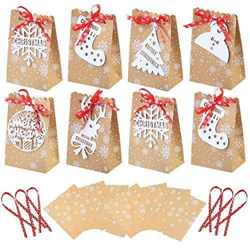 FANDE Scatola di Caramelle di Natale, 24PCS Confezione Regalo di Sacchetto di Carta Kraft di Natale, Articoli per Feste di Natale, Usata per Decorare i Regali di Cioccolato Caramelle